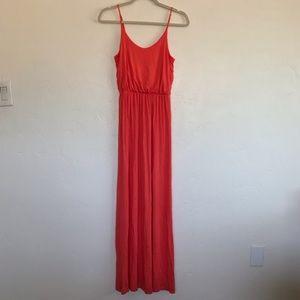 Lush Coral Blouson Style Jersey Knit Maxi Dress S